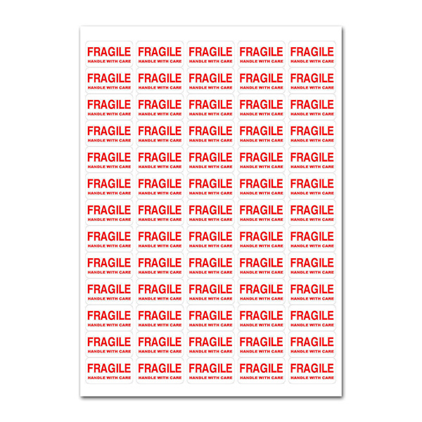 650+ - FRAGILE - Handle With Care Labels RED