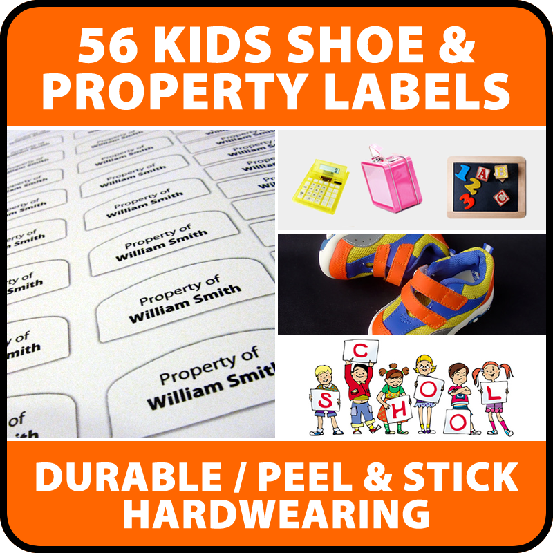 56 x Peel and stick Kids Shoe and Property school labels