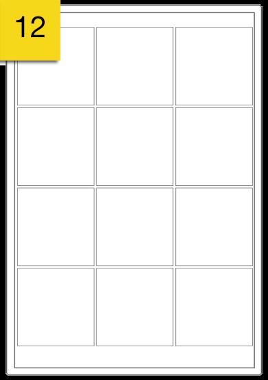 Square Labels  - 12 labels x 100 A4 Sheets - 64 mm x 64 mm