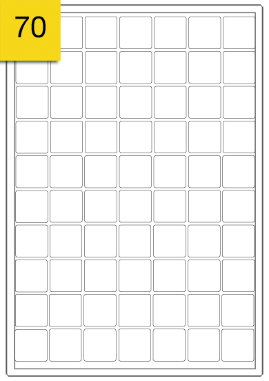 Mini Square Labels  - 70 labels x 100 A4 Sheets - 25 mm x 25 mm