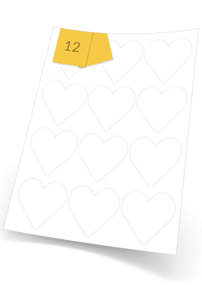 Heart Labels  - 12 labels x 100 A4 Sheets - 60 mm x 67 mm