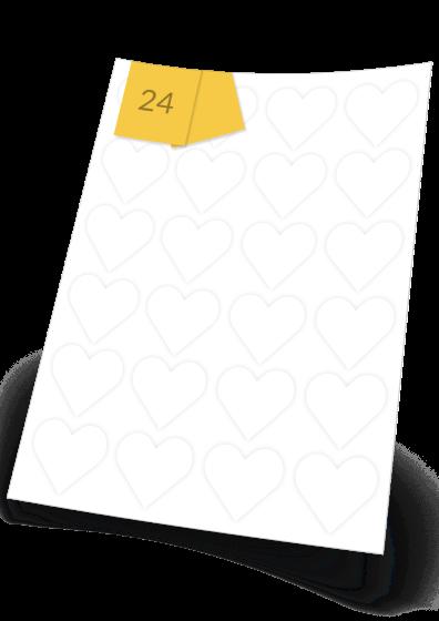 Heart Labels  - 24 labels x 100 A4 Sheets - 43 mm x 43 mm