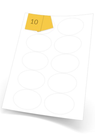 Oval Labels  - 10 labels x 100 A4 Sheets - 75 mm x 55 mm