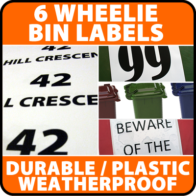 6 x Wheelie Bin Labels House  Number Stickers