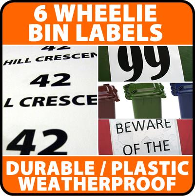 6 x Wheelie Bin Labels House  Number Stickers